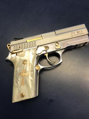 Gun Grips with Gold Filled Cross