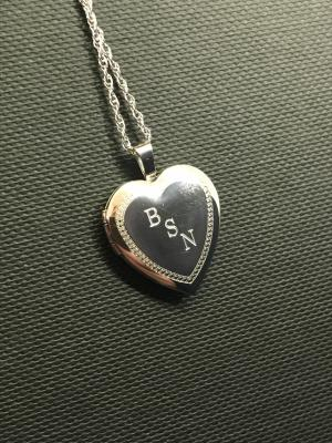 Custom engraved sterling silver heart penant